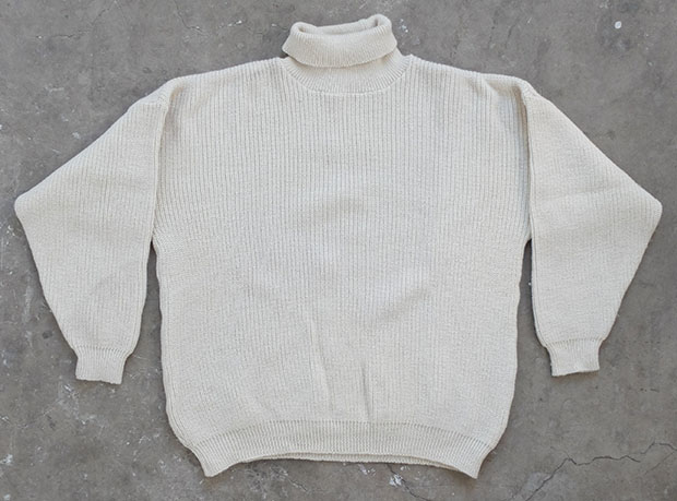 1950s English White Roll Neck Submariner (00041)