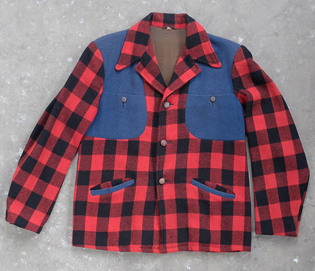 Red & Black Check Hunting Jacket With Blue Panels