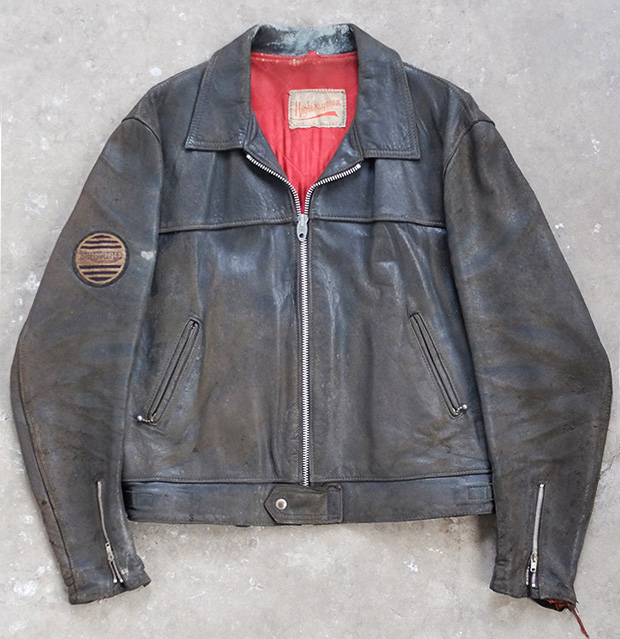 1960s Highwayman Leather Jacket With Red Lining & Triumph Badge (00516)