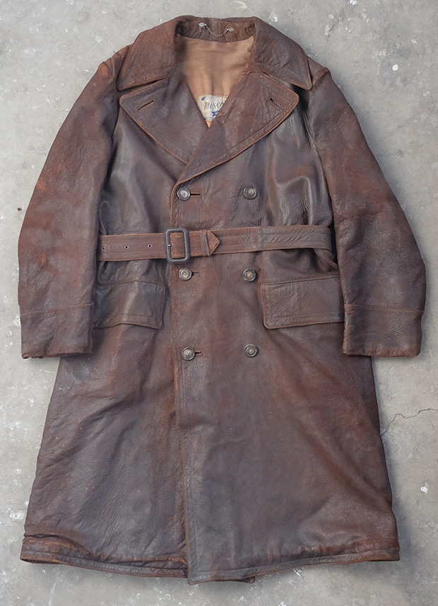 Brown Leather Edwardian Driving Coat (00717)