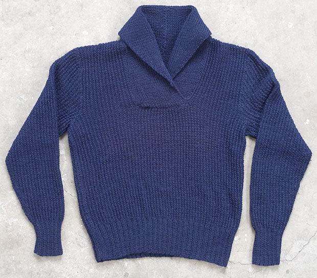 1950s Blue Shawl Collar HandKnit (01589)