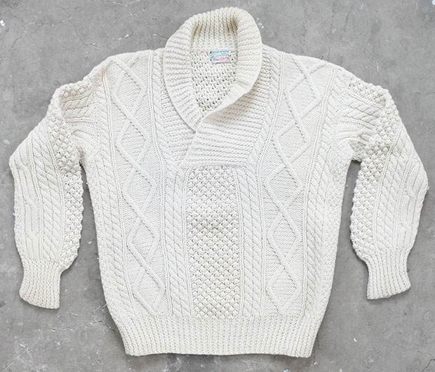 Shawl Collar Donegal Fishermans Knit (01592)