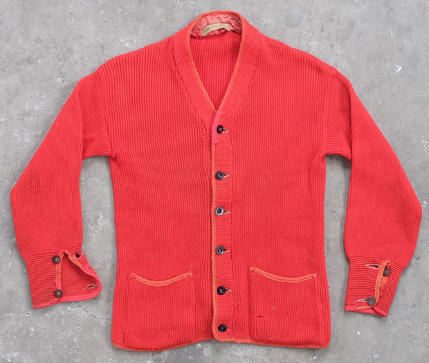 1940s Red Cardigan With Piping