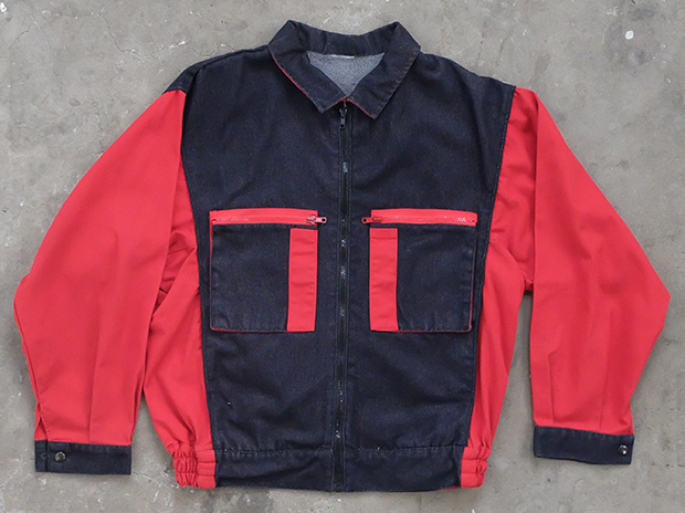 1980s Black And Red French Work Jacket (01763)